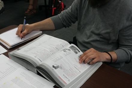 Student studying Greek